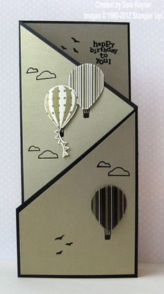 handmade card ... cascade tri-fold base ... neutral colors ...die cut hot air balloons floating upwards ... like it!!