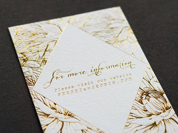 Oh So Beautiful Paper: Robin + Sergei's Floral and Gold Foil Wedding Invitations