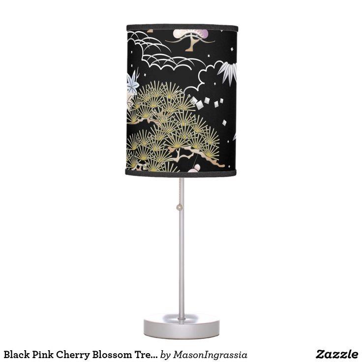 Black Pink Cherry Blossom Tree Sakura Cute Custom Table Lamp Zazzle Com Pink Cherry Blossom Tree Cherry Blossom Tree Cherry Blossom Decor