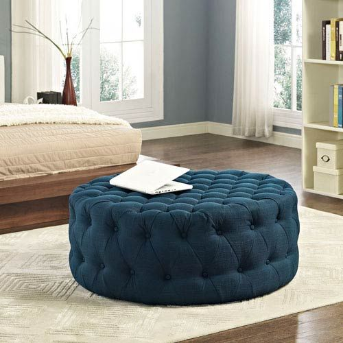 Amour Fabric Ottoman In Azure Modway Furniture Ottomans Ottomans Living Room