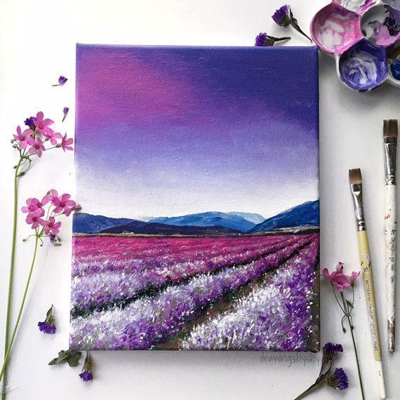 Acrylmalereikunstdruck eines purpurroten Lavendelfeldes unter einem bunten Himmel. Prin