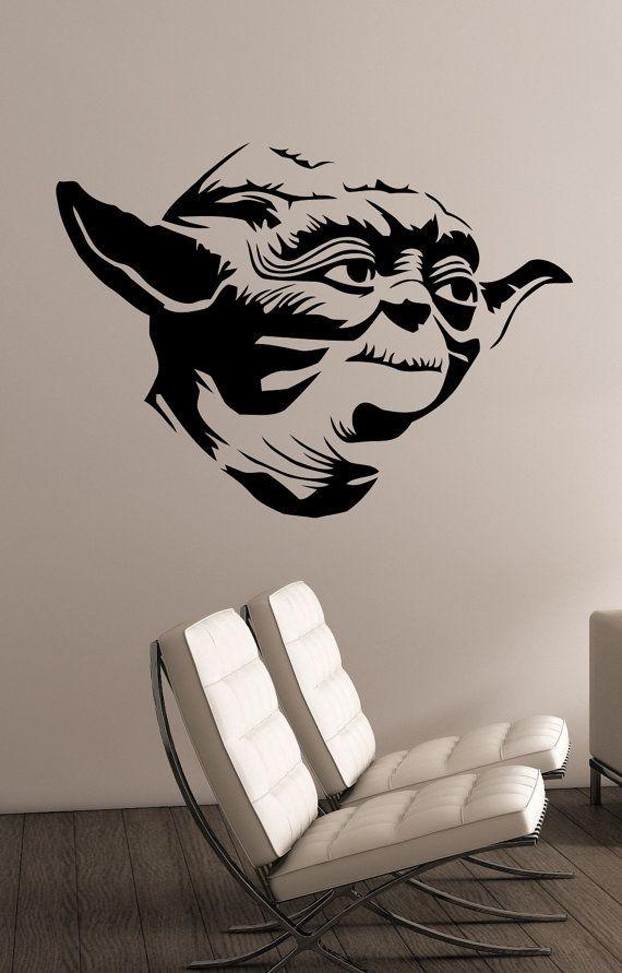 Star Wars Yoda Wall Decal Vinyl Sticker Art Decorations for Home Housewares Teen Kids Boys Room Bedroom Movie Decor sws10