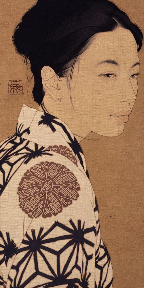 [Distant thunder / Amiko] 2009 Linen Canvas/Mineral pigments/Gelatin glue/Soot ink. By Ikenaga Yasunari