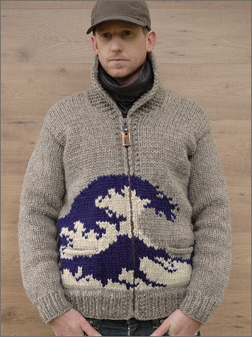cowichan sweater with hokusai's wave.