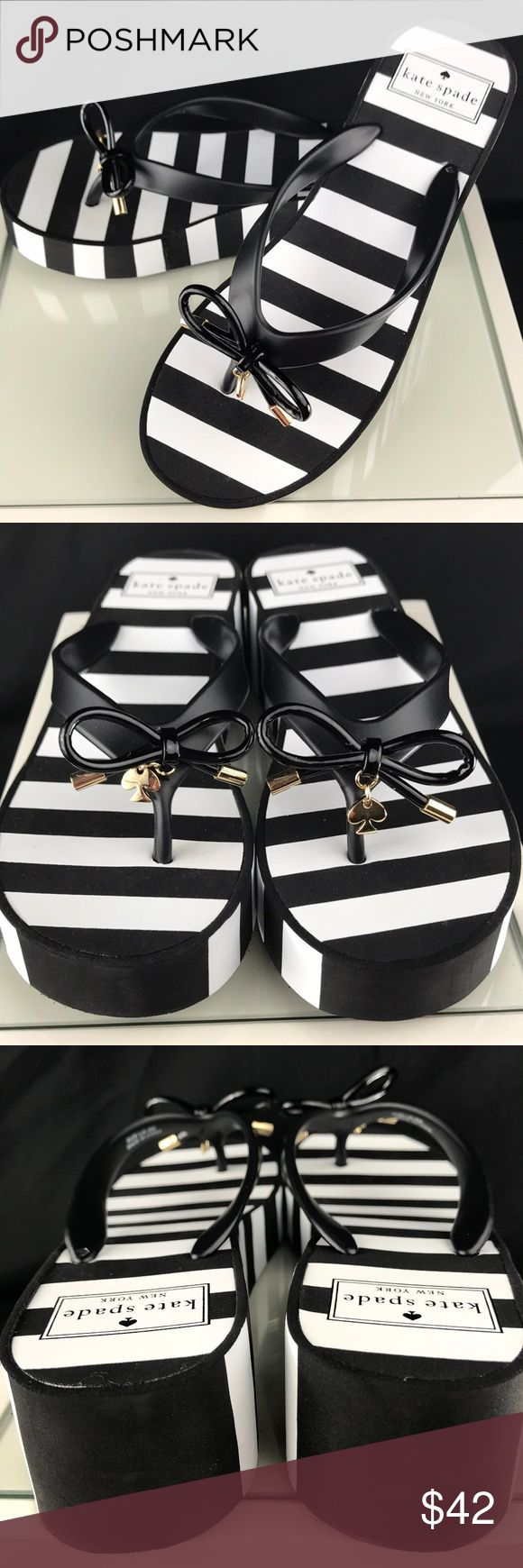 """KATE SPADE NEW YORKK Rhett Flip Flop Sandals Brand new and beautiful flip flops just so perfect for summer.    Description: Rubber upper with ornament detail Slip-on construction Rubber outsole 2"""" molded wedge kate spade Shoes Sandals"""