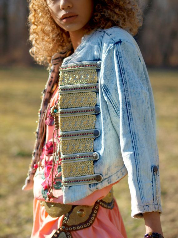 83 € Ready Now M Vintage upcycled bohemian denim acid by TheLookFactory