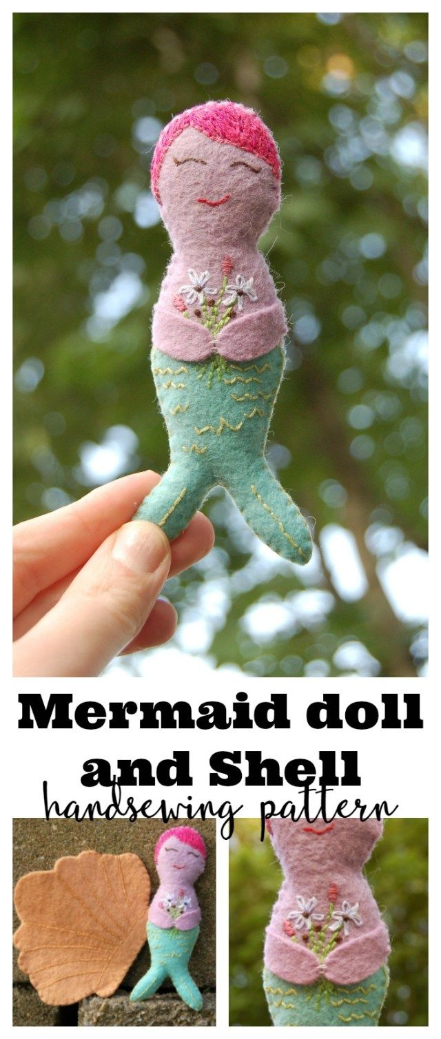 Mermaid Pocket doll and Shell sewn by Lulu & Celeste. This pattern is found in Issue 16 of One Thimble Magazine and features embroidery and hand sewing. Super cute!