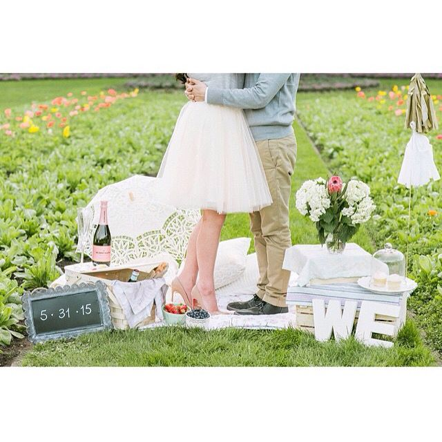 vintage engagement session photo shoot, may day picnic, Space 46 tulle skirt