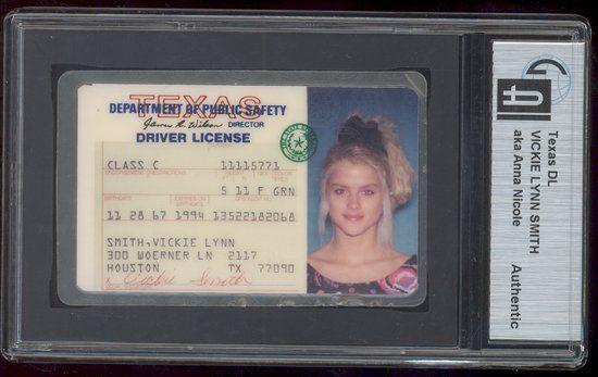 Anna Nicole Smith's driver's license, 1994