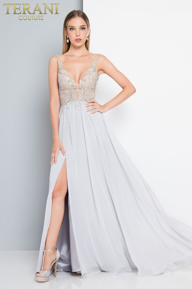 Elegant Airy Chiffon Floor Length Gown. This Deep V Plunged Neckline Prom  Dress With Beaded