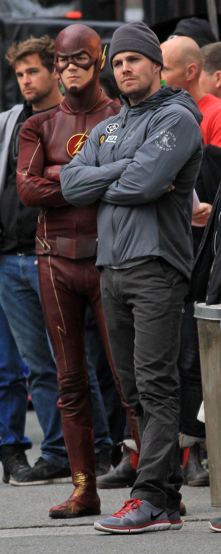 Arrow/The Flash - Grant Gustin & Stephen Amell. I love how they're practically making the same facial expression :)