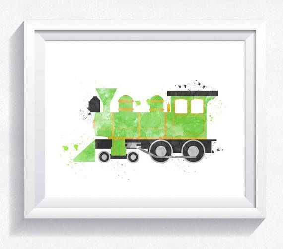 Watercolor train print train printable train wall art steam