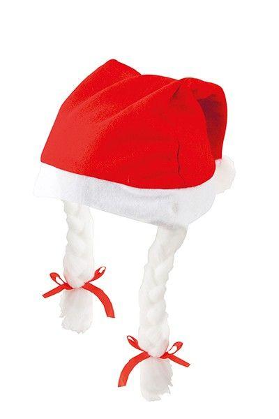 Regalo para Navidad: uno de los imprescindibles de estas fechas es el gorro de Papá Noel con trenzas. Está fabricado en fieltro de color rojo con un ribete inferior y una bolita superior en blanco, y unas trenzas. Prenda navideña ideal para las reuniones familiares y celebraciones de esta fiesta.