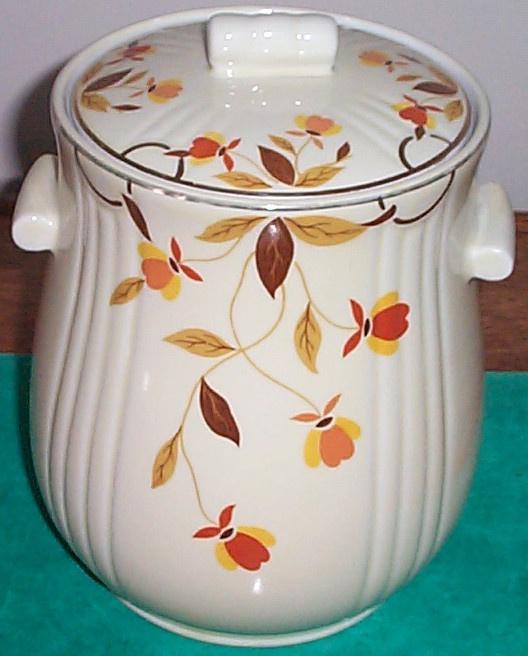 Amazing Jewel Tea Autumn Leaf Tootsie Cookie Jar Hall China 1936  39 Pictures Gallery