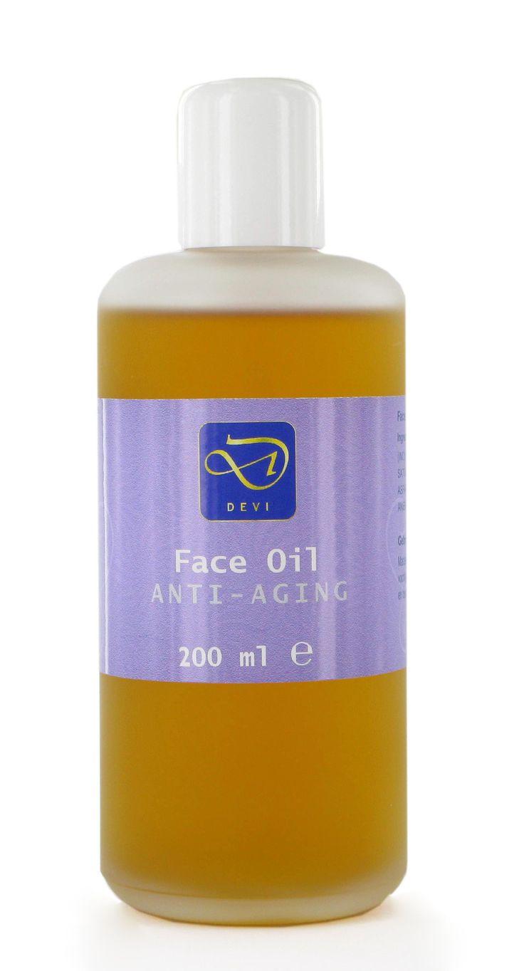 Anti-Aging Face oil 200 ML  Description: Deze Anti-Aging Face Oil is gemaakt op basis van sesamolie die langere tijd op een hogere temperatuur verrijkt is met saffraan Indiase asperge (Shatavari) en rozenblaadjes. Hierdoor is de olie gemakkelijk opneembaar en werkt snel in. Etherische rozenolie is toegevoegd voor een aangenaam aroma. Anti-Aging Face Oil is een gezichtsolie die voor diverse huidtypen inzetbaar is.Deze gezichtsolie is voor diverse huidtypen geschikt.DEVI Anti-Aging Face Oil is…