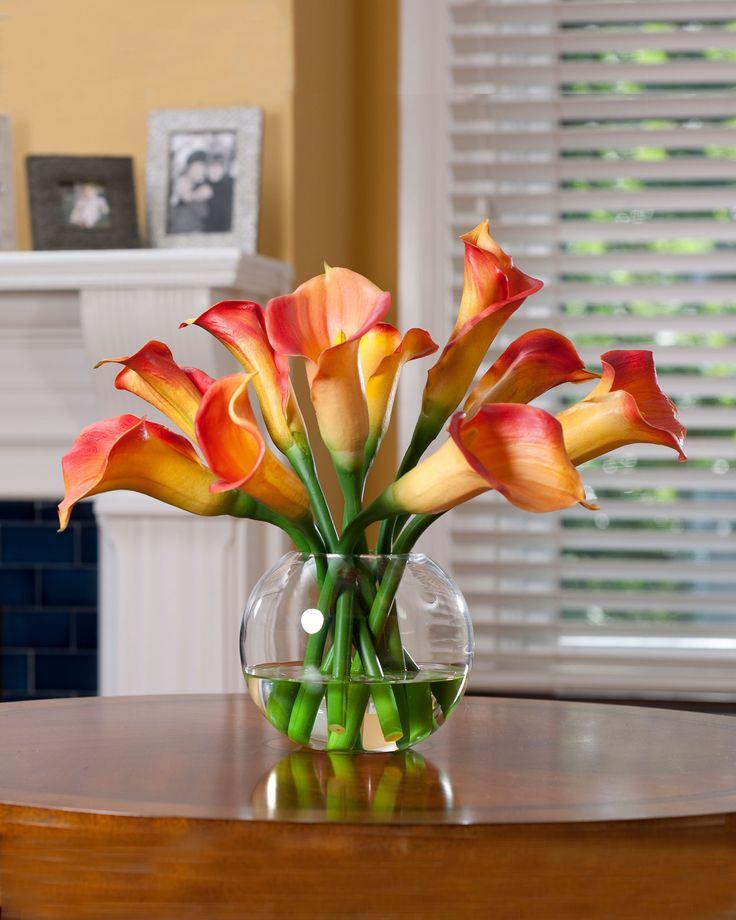 calla lily centerpieces | Orange Silk Calla Lily Centerpiece Arrangement | Artificial Floral ...