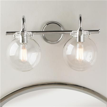 """Guest Bath - $289 Retro Glass Globe Bath Light - 2 Light Retro and modern combine to bring clear light to your bath or vanity light. Polished chrome and clear round globes complement the detail of the metal. Available in a 2 or 3 light fixture, this is a great addition to a bathroom. (11.5""""Hx19.3""""Wx9.3""""D) 2x100 watts max, medium base. Glass globes are 7.25""""H x 6.5""""W. Backplate: 4.8"""""""