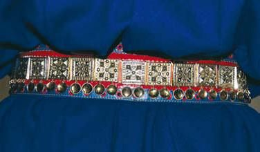 Sámi jewelry. Silver belt part of the Utsjoki Sámi clothing, Finland