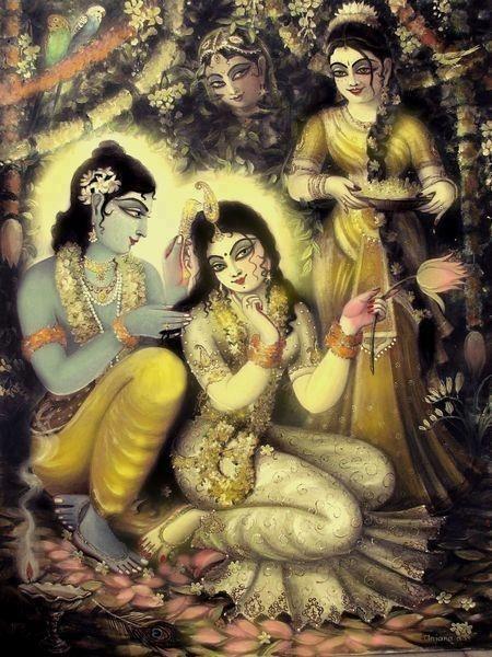 Krishna and Radha, I offer my respectful obeisances to Srimati Radharani, and Sri Krsna, along with their associates.