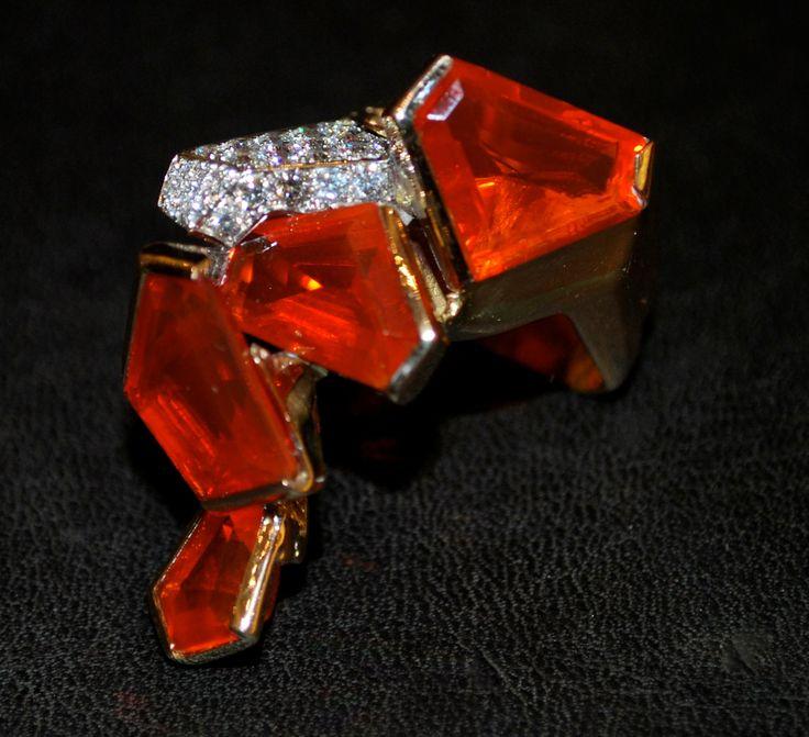 Bague Opale de Feu, Diamants et Or