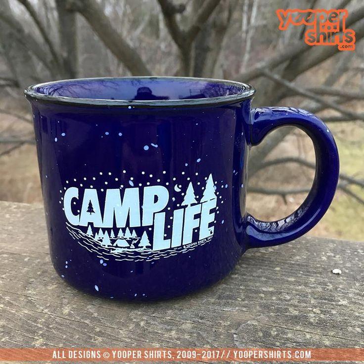 """CAMP LIFE"" 13 oz. Ceramic Campfire Navy Blue Coffee Mug by Yooper Shirts   Yooper Shirts, Inc."