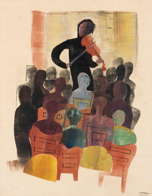 H.N. Werkman (1882-1945) Violist en publiek, 1942, sjabloon en stempel