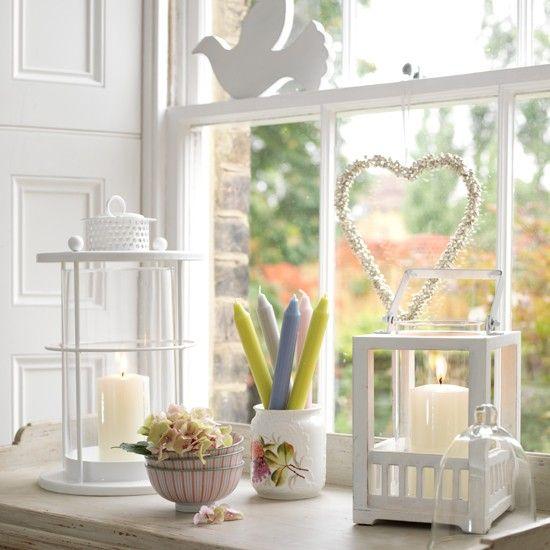 White accessories: Candle, Window Sill, Windowsill Decorations, Living Room, Decoration Ideas, Deep Windowsills, Light, Lanterns