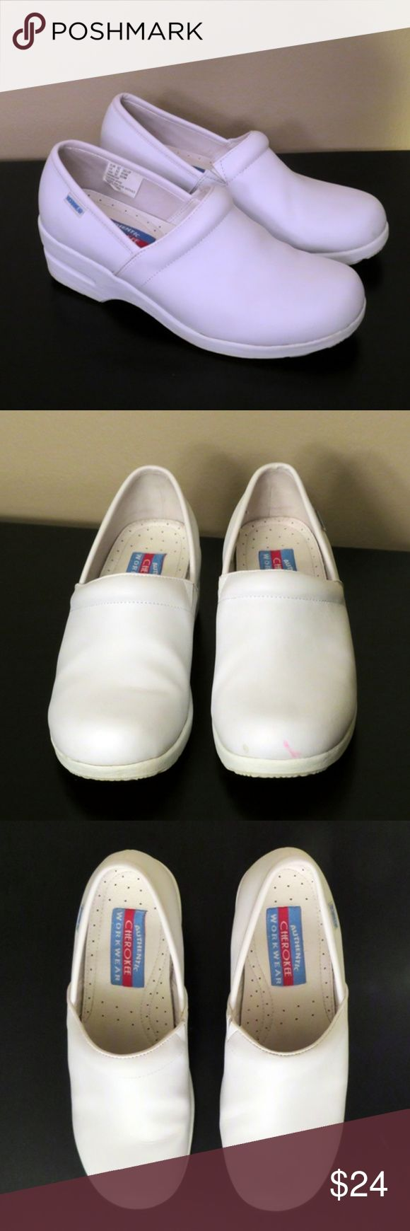 CHEROKEE Workwear Harmony White Leather Clogs 8.5 Worn just a couple of times as a dental hygienist, these leather shoes are like new with one small flaw. Small pink stain on very end of toe of the left shoe. Not really noticeable when you're wearing them and it can be covered by a good white polish, but wanted you to see it in the photo. Soles show no physical wear on the bottom, just some darkening from street wear. (They are white, after all!) Inside of shoes show no wear. Very…