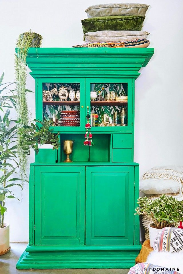 Eclectic vintage dresser painted bright green
