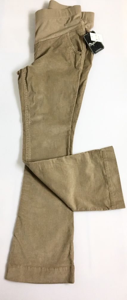 New ONYX MATERNITY Womens Corduroys Size L / Winter Shimmer Khaki Leggings Pants #OnyxMaternity #Corduroys