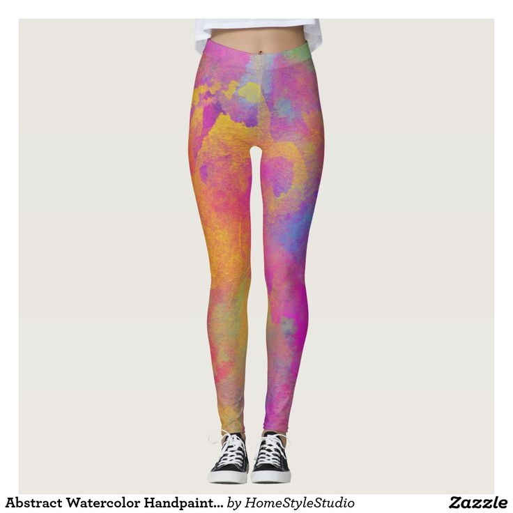Abstract Watercolor Handpainted Modern Abstract Leggings