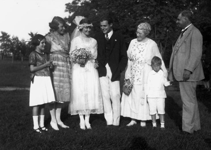 A thrilled Ernest Hemingway at his wedding to Elizabeth Hadley Richardson on September 3, 1921, in Horton's Bay, Michigan.