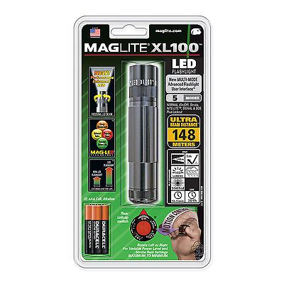 Maglite XL 100 LED High Power Flashlight  5 Modes- GRAY- XL100 S3096