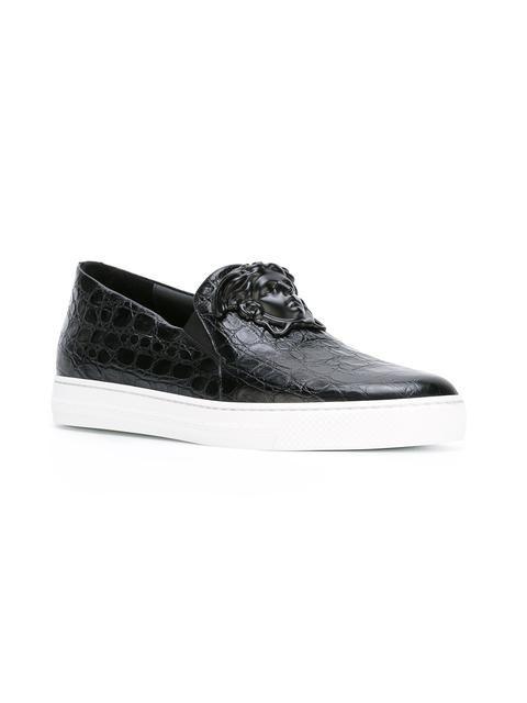Jeune Versace Slip-on Brodé Chaussures De Sport - Blanc ycgl1