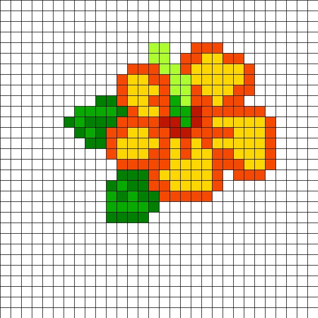 Hibiscus Perler Bead Pattern Bead Sprites Simple Fuse Bead Delectable Cute Perler Bead Patterns