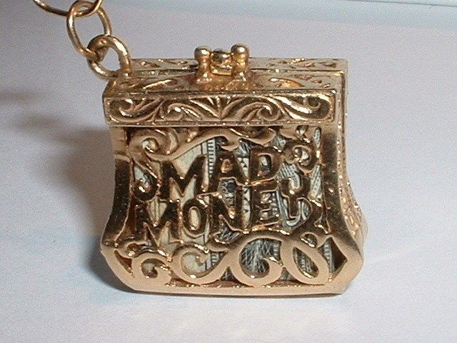 VINTAGE 14K YELLOW GOLD EMERGENCY MAD MONEY PURSE PENDANT CHARM opens in Charms & Charm Bracelets | eBay