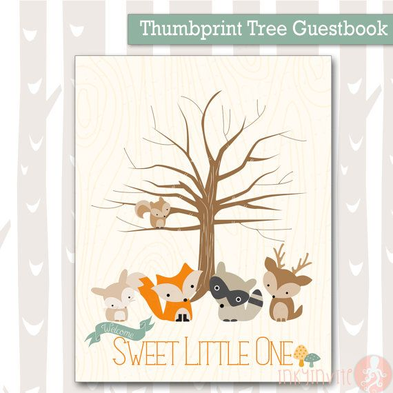 baby shower guest book alternative woodland baby animals 8x10 and