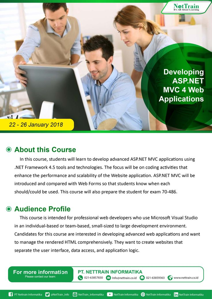 n this course, students will learn to develop advanced http://ASP.NET  MVC applications using .NET Framework 4.5 tools and technologies.  #InfoNetTrain #Training #Developing #Web #Application #Advanced