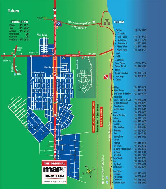 Tulum Hotel Map | Map of Tulum beach hotels zone.... | VACACIONES | Pinterest