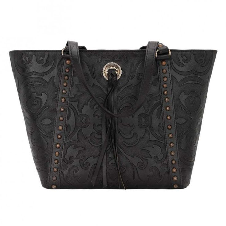 American West Baroque Tote Black Grace and style combined in this beautiful hand tooled leather tote. $360.00