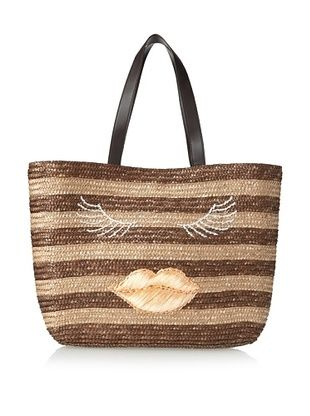 59% OFF Felix Rey Women's Kissy Face Basket Tote, Brown Stripe/Ballet