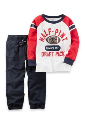 Carter's 2-Piece Athletic Raglan Tee & French Terry Jogger Set - White - 24 Months