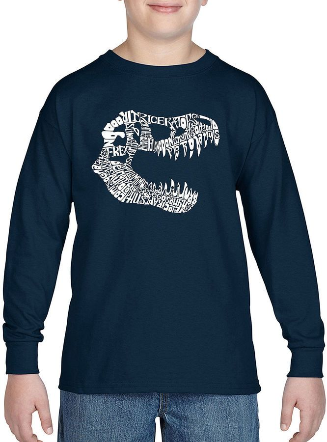 LOS ANGELES POP ART Los Angeles Pop Art Trex Skull Using Popular Dinosaur Names Long Sleeve Boys Word Art T-Shirt