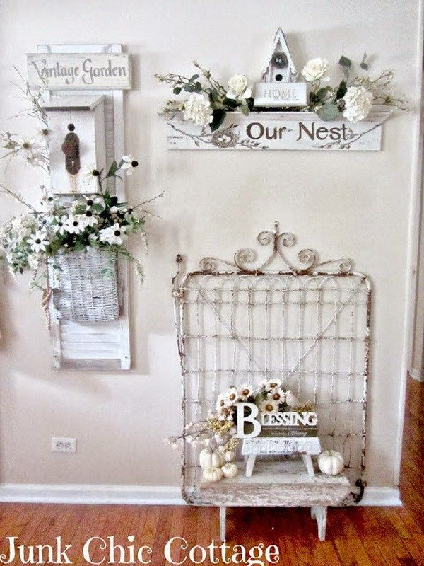 Vintage whitewashed shabby chic look.