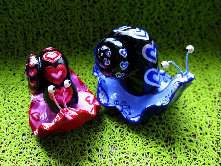 """Купить Улитки """"Влюбленные"""" - разноцветный, радуга, улитки, украшение интерьера, хеллоуин, для цветов, счастье, веселье"""