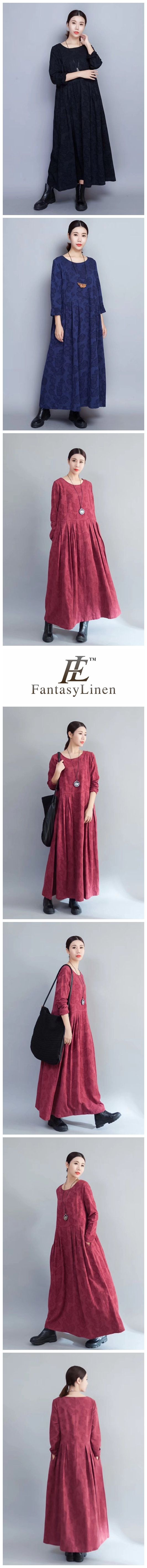 Flower Long Sleeve Casual Maxi Dresses Women Clothes in Red 8007  8007Red