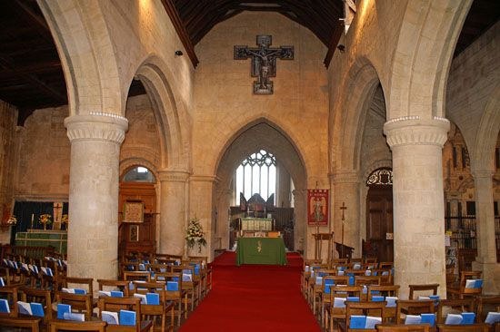 St Michael's Bishop's Cleeve showing the massive pillars of the nave