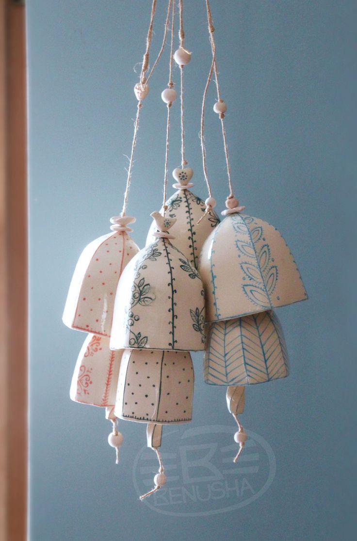 Pottery, ceramic double bells - wind chime. Hand painted. Podwójny dzwonek ceramiczny, ręcznie malowany. by Benusha - ceramica