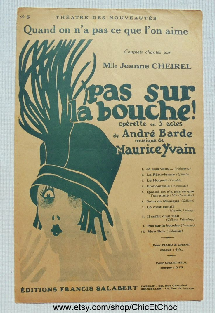 French 1920's Song / Sheet Music - 'Quand on n'a pas...' from the Musical Comedy 'Pas Sur La Bouche' by ChicEtChoc on Etsy