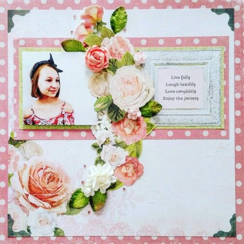 Kaisercraft : Cottage Rose collection: April Sketch Challenge layout by Amanda Baldwin